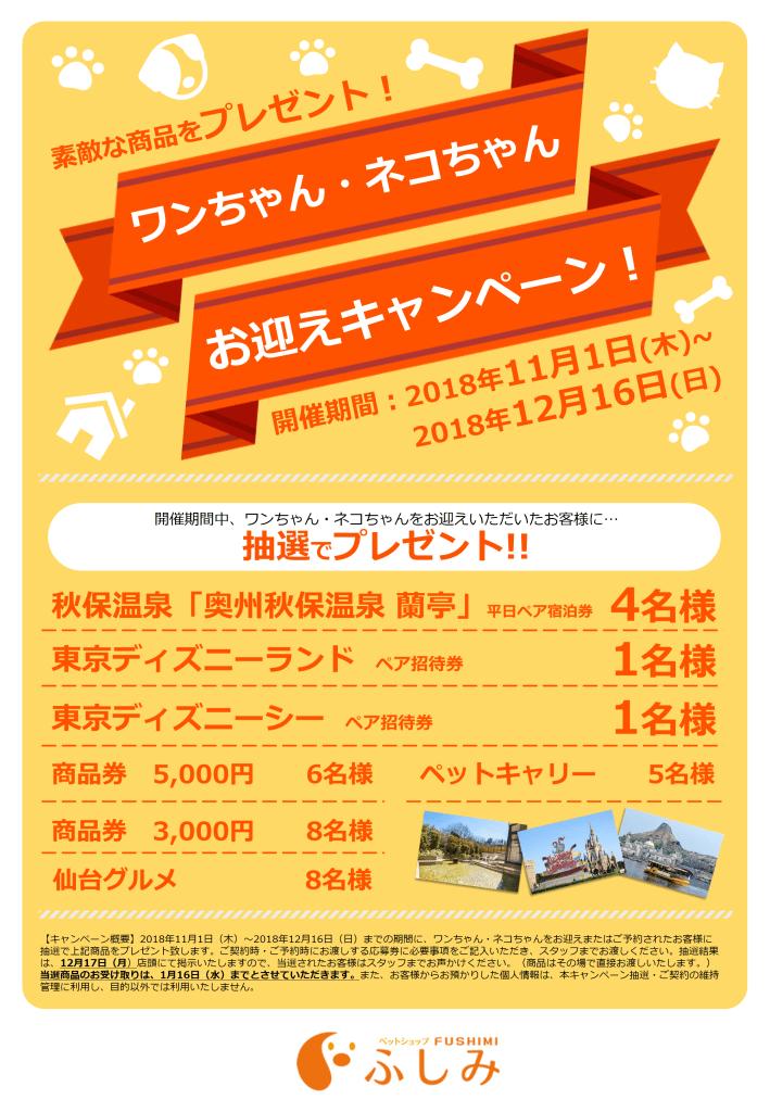 第3弾・宮城・4店舗・お迎えキャンペーン…11/1~12/16