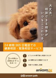 anicom24・24時間365日、電話での健康相談、緊急相談サービス!2021.01.01.ふしみ全店でスタート!